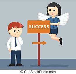female business angel showing direction to success