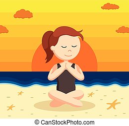 yoga woman cross sitting on sunset beach