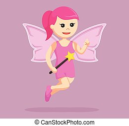 pink female fairy with magic wand