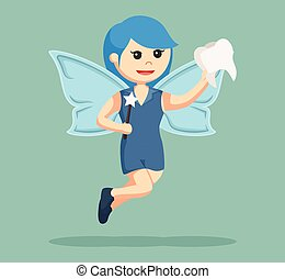 blue female tooth fairy with tooth