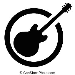 Black Ink Stamp Semi Guitar - The definitive rock and roll...