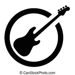 Bass Guitar Black Ink Stamp