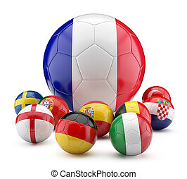 Euro 2016 year - Football balls in flags color.3d...