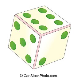 Tumbling Ivory Dice - A tumbling dice over a white...