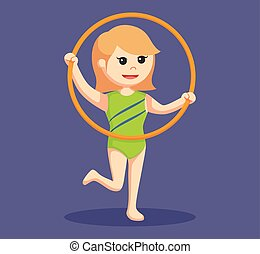 woman gymnastic with mace hoop