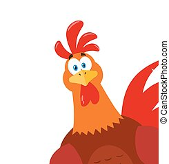 Cute Red Rooster Bird Cartoon Mascot Character Peeking From A Corner