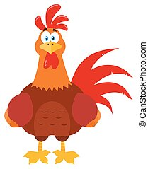 Cute Red Rooster Bird Cartoon Mascot Character