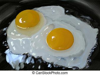 fried eggs, digital painting