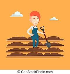 Farmer with shovel at field vector illustration. - Caucasian...