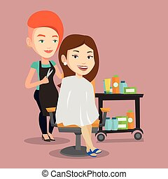 Hairdresser making haircut to young woman. - Stylish...