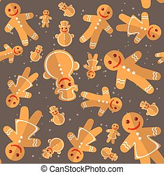 merry christmas-29 - Cartoon gingerbread cookies isolated on...