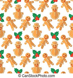 merry christmas-55 - Cartoon gingerbread cookies and holly...
