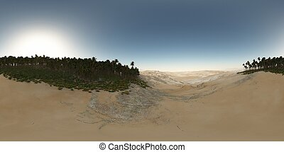 panorama of palms in desert. made with the one 360 degree lense camera without any seams. ready for virtual reality. 3D illustration