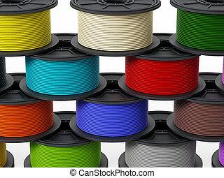 3D printer filaments. 3D illustration. - 3D printer...