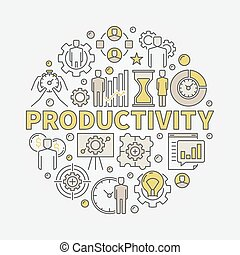 Productivity round colorful illustration
