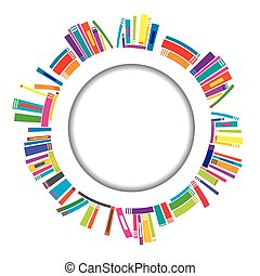 Round frame with books - Round frame with stylized books