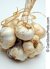 Garlic grappe. - Solvent Wight garlic grappe against a plain...