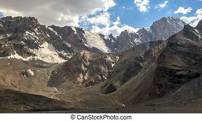 Mountains with glaciers. TimeLapse. Pamir, Tajikistan