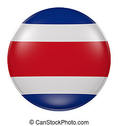 Costa Rica button - 3d rendering of Costa Rica flag on a...