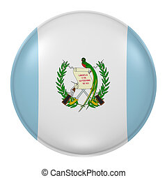 Guatemala button - 3d rendering of Guatemala flag on a...