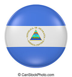 Nicaragua button - 3d rendering of Nicaragua flag on a...