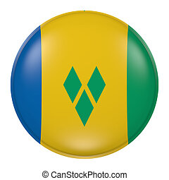 Saint Vincent and the Grenadines button - 3d rendering of...