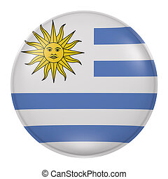 Uruguay button - 3d rendering of Uruguay flag on a button