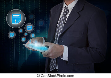 Businessman hand touch screen pdf icons on a tablet. internet and technology concept.