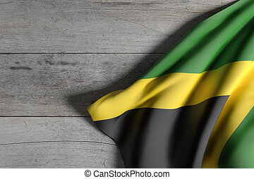 Jamaica flag waving - 3d rendering of Jamaica flag waving on...