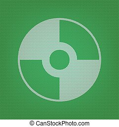 Vector CD or DVD sign. white icon on the green knitwear or...