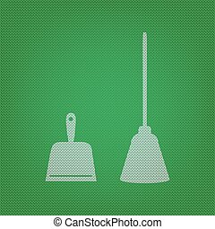 Dustpan vector sign. Scoop for cleaning garbage housework dustpan equipment. white icon on the green knitwear or woolen cloth texture.