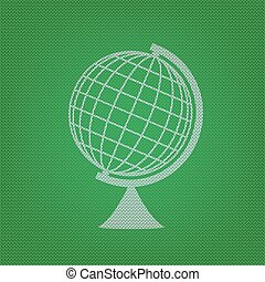 Earth Globe sign. white icon on the green knitwear or woolen...