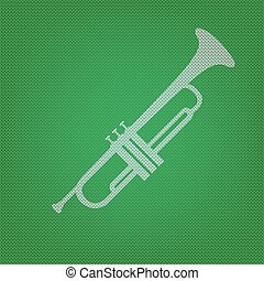 Musical instrument Trumpet sign. white icon on the green...