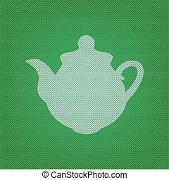 Tea maker Kitchen sign. white icon on the green knitwear or woolen cloth texture.