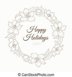 Christmas rose hellebore flowers wreath template - Christmas...