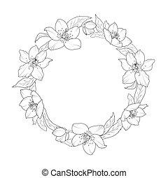 Christmas rose hellebore flowers wreath template - Hellebore...