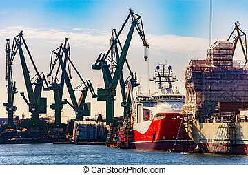Ships in shipyard - A ships under repair at shipyard in...