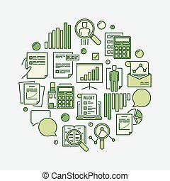 Audit round green sign. Vector business analytics and...