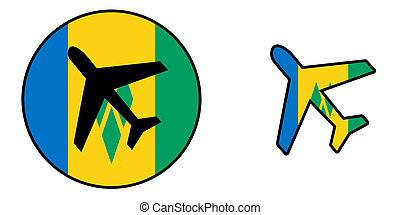 Nation flag - Airplane isolated - Saint Vincent and the...