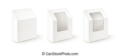 Set of White Cardboard Take Away Boxes For Gift