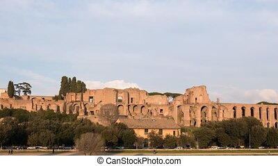 Ruins of Palatine hill palace. SunSet. Rome, Italy. Time...