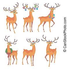 Reindeer Christmas icon. Moving deer