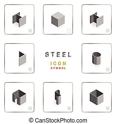 section steel icon symbol isometric - many section steel...