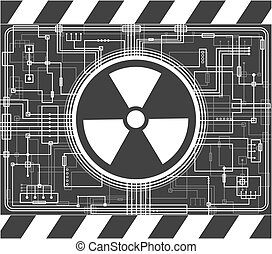 Nuclear background with the sign of radiation. Black and...