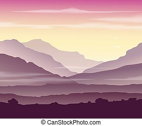 Mountain landscape at sunset - Pink mountain landscape. Wild...