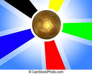 Golden soccer ball background - Gold soccer ball surrounded...