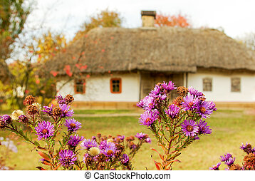 traditional ukrainian rural cottage with a straw roof
