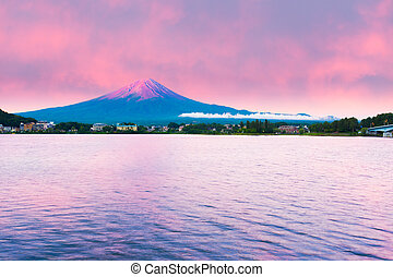 Mount Fuji Sunrise Lake Kawaguchi Water Red Sky - Fiery...