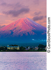 Mount Fuji Detail Sunrise Kawaguchiko Red Cone V - Colorful...