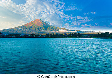 Kawaguchi Lake Mount Fuji View Morning Blue Sky H - Mount...
